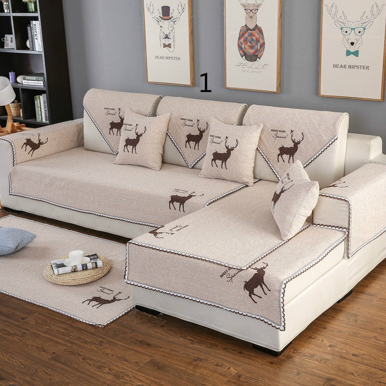 Solid color cotton and linen cloth fabric slip simple modern sofa ...