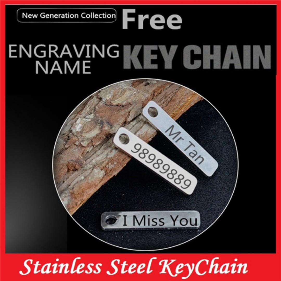 Stainless Steel Key Chain Pendant + Free Engraving Name.