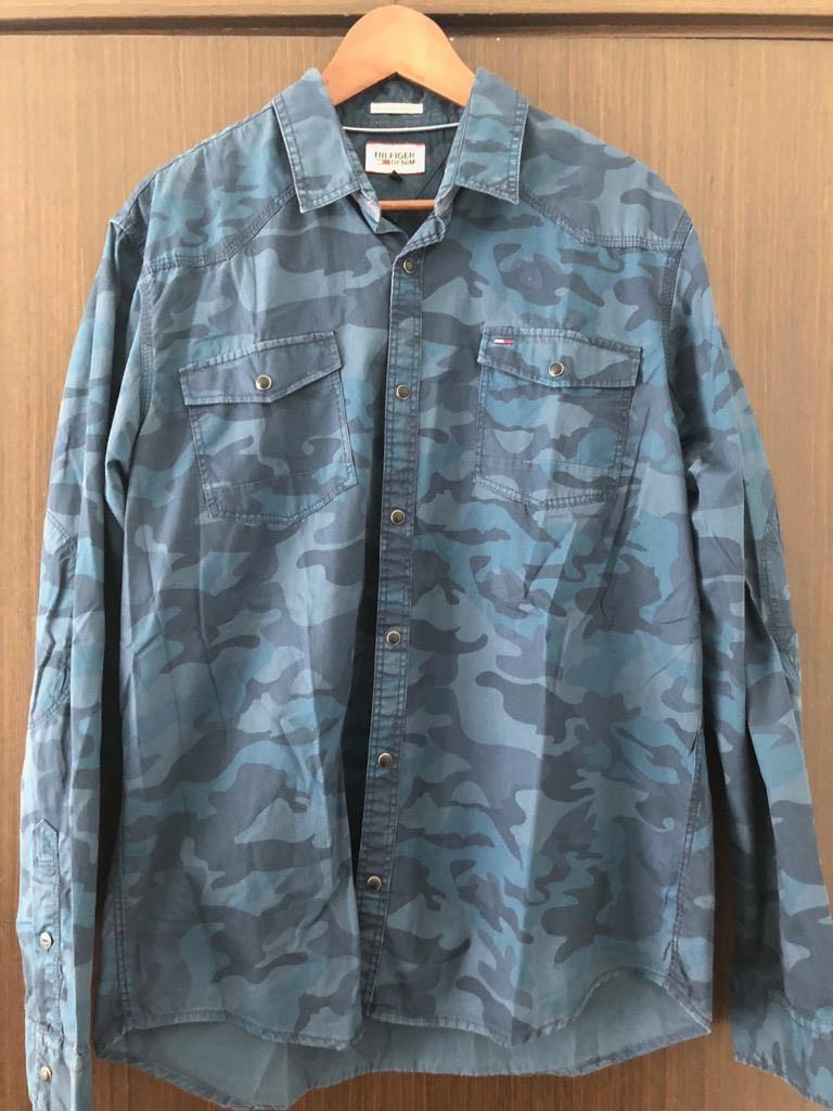 3cb2f90769518 Tommy Hilfiger Men's Blue Camouflage Chambray Shirt, Men's Fashion ...