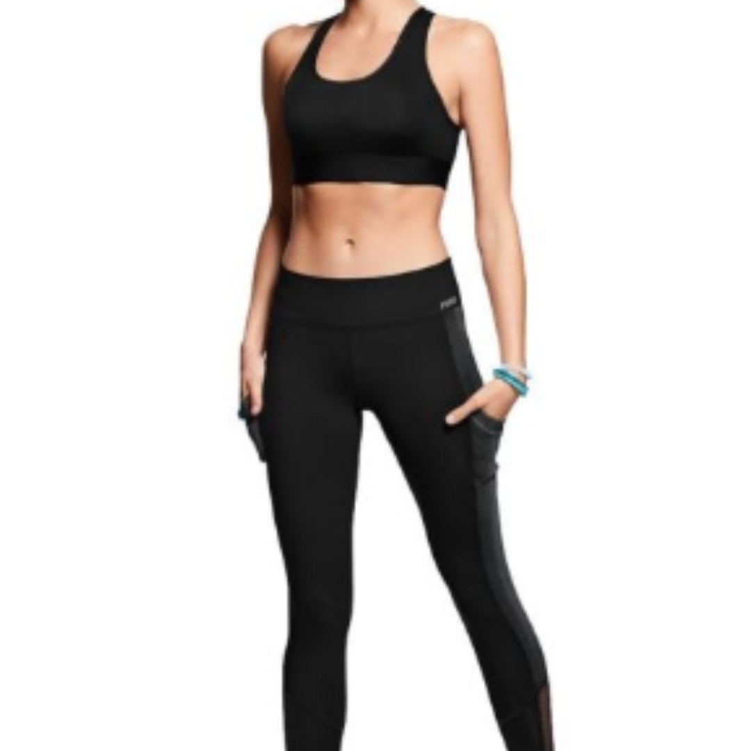 604ea58793b3c Victoria's Secret PINK Black Mesh Leggings, Sports, Sports Apparel ...