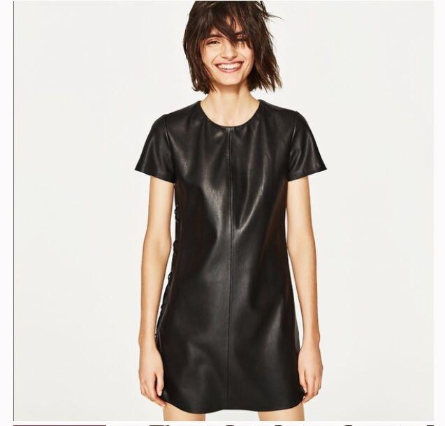 c1e359895 Zara Black Faux Leather Tie Up Mini Dress on Carousell