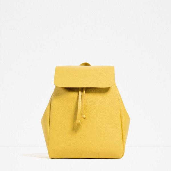 d70741fde9d ZARA Yellow Backpack with Foldover Flap, Women's Fashion, Bags ...