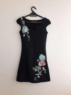 Modern Black Embroidery CheongSam