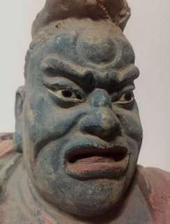 Rare Chinese Terracotta Bust of a Temple Guardian; 19th century.