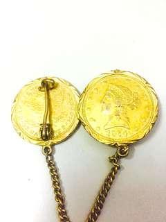 1964 GOLD DOLLAR COIN PENDANT