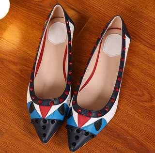 🚚 Monster Eyes Color-Block Stud Flats Soft Leather Studded Shoes Rockstud Flats Studded Flats Studs Flats Stud Shoes Rockstud Shoes Pointed Shoes Pointed Flats Point Toe European Style Flats Korean Flats Korean Shoes European Shoes