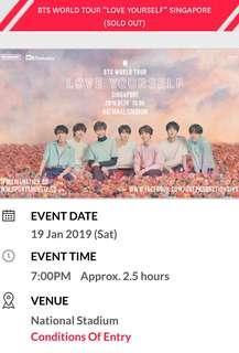 Bts concert 2019 Singapore 19 January 2019 cat 7 619 row L