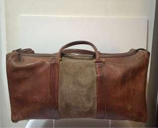 Rare Christian Dior Leather Duffel Bag; 1970s.