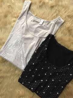 CHICO'S Glittery Top + Star Studded Glittery Stars Tank Top (Oversized Bundle)