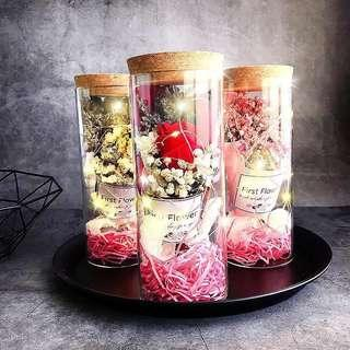 🌹Valentine Special ! Romantic Korea Ins flower jar / glass with dazzling LED lights ! 💝
