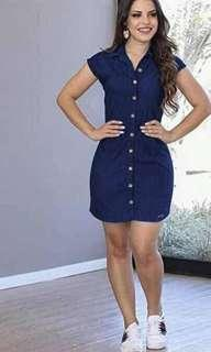 US Denim Buttom Dress High Quality