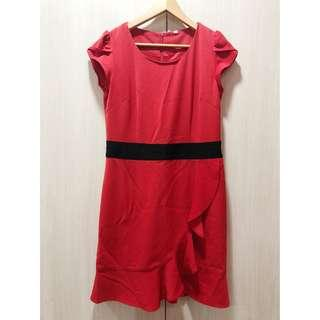 Red Dress with Ruffles Front