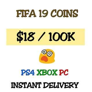 FIFA 19 COINS : PS4 XBOX PC [ INSTANT DELIVERY ]