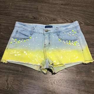 Denim Yellow Shorts