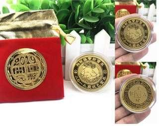 24K 2019 Lunar Lucky Pig Year Gold Coin In A Velvet Pouch Red Packet Ang Bao