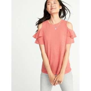 OLD NAVY Relaxed Linen Blend Cold Shoulder Blouse (Coral)