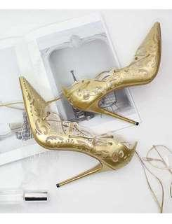 Gold Cut Out Pointed Pumps size 37 and 39