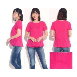 THE LIMITED Pleated Blouse (Dark Pink)
