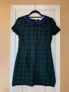 Green/Blue plaid dress w/Collar