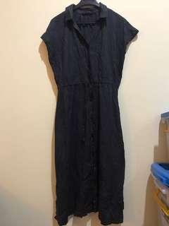 Dress kancing katun import