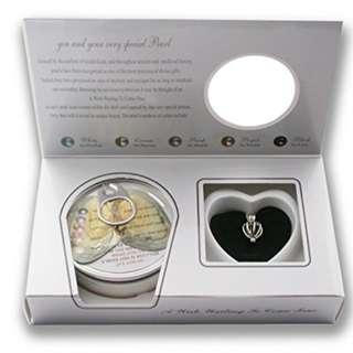 """Pearlina Cage Cultured Pearl Oyster Necklace Set Rhodium Plated Heart Locket w/Stainless Steel Chain,18"""""""