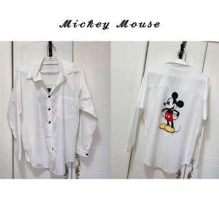 🚚 ✨𝓝𝓮𝔀米奇白襯衫 oversize