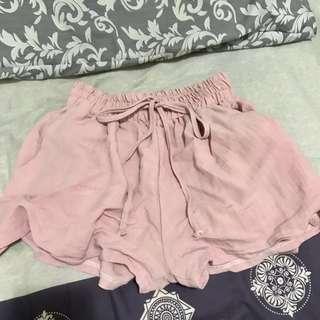 🚚 日系透氣麻紗藕粉短褲