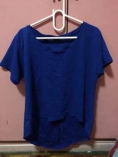 Loose shirt blouse blue