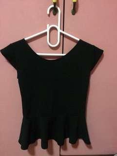 Peplum blouse black