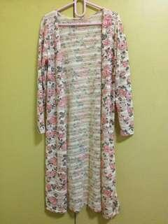 Long cardigan floral knitted