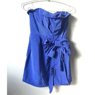 Forever 21 Blue Sapphire Coloured Dress with Bow Size Small UNWORN