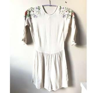 Embroidered Shoulder White Romper Size Small - unworn