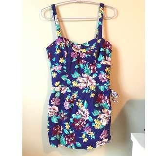 Forever 21 Purple Floral Romper with Bow - size small - unworn