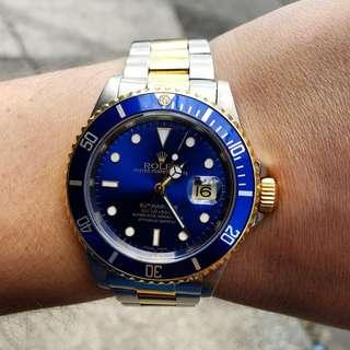 My Rolex Submariner 16613 blue face 18k yellow gold