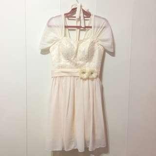 🚚 【喵喵-二手】香檳色伴娘服 雙肩雪紡設計 蕾絲小洋裝 連身裙 / 遮手臂 / 婚禮 / 婚宴 / 大碼