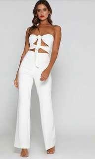 Meshki tie knot jumpsuit white size m 10