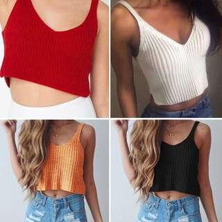 PO : Super Sexy And Chic V Cut Front/V Cut Neckline/V Neck Sleeveless Crochet Crop Top/Knitted Crop Top