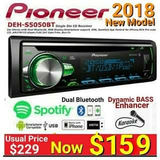 Pioneer Full Featured Single Din Bluetooth Head Unit wirh Spotify - DEH-S5050BT. Usual Price :$ 229. Special: $159 ( Authentic, Brand New in box & Sealed)