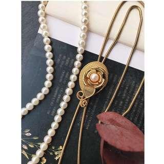 Skin&Moss Vintage復古二手古董雪白瑩潤珍珠項鍊日本珍珠項鍊淡水珍珠金色玫瑰可調整長度項鍊垂墜項鍊