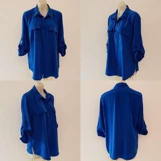Women's size 14 'SUZANNE GRAE' Gorgeous royal blue button down shirt - AS NEW