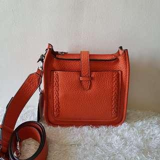ON HAND: 💯 NWT Authentic Rebecca Minkoff Unlined Feed Whipstitch Mini  Leather Cross Body Bag in Tangerine