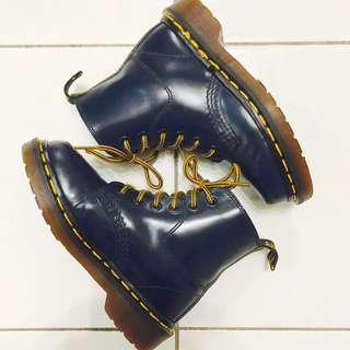 Vintage 90's Navy Blue 6eye Dr Martens Kids 13UK Made in England