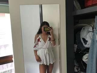 white playsuit with flowers