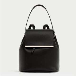 🚚 Zara 金屬配件手提黑色後背包 側背包 多功能後背包