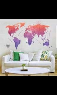 New color map abstract world map living room office bedroom art deco wall stickers environmental protection ⭕Size see last picture