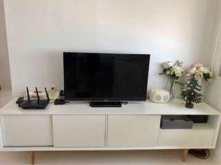 Moving sale - TV console (white and wood)