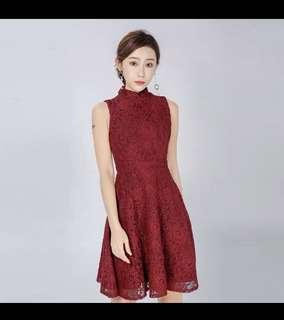 ⚡️CNY SALE⚡️MAROON LACEY DRESS (with detached mandarin collar)