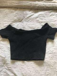 black ripped off the shoulder crop