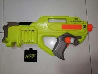USED Nerf Rayven Green Blaster with lithium ion battery  Hasbro TRU