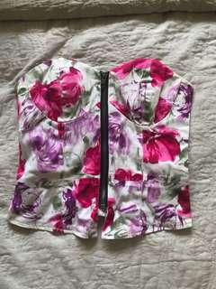 floral, corset style crop